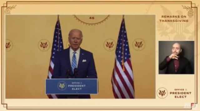 Thanksgiving Address by President-Elect Joe Biden